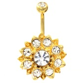 Golden Lotus Flower Clear Gem Belly Ring
