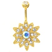 Gold Chrysanthemum Flower Clear Gem Belly Ring