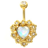 Dazzling Framed Heart Gold Plated Belly Ring