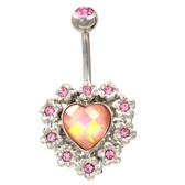 Dazzling Pink Framed Heart Steel Belly Ring