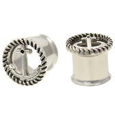 "Anchor Center Roped Rim Steel Plugs (2g-5/8"")"