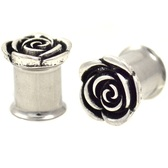 "Carved Rose Double Flared Steel Plugs (2g-5/8"")"
