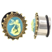 "Framed Mermaid Cameo Single Flared Plugs (2g-1"")"