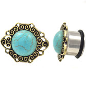 "Antique Framed Turquoise Single Flared Plugs (2g-1"")"