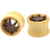 "Wooden Pot Leaf Bamboo Tunnel Plugs (1/2-1"")"