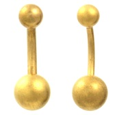 Gold Matte Plated Double Ball Belly Ring (16g/14g)