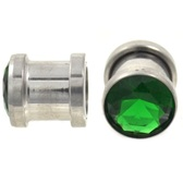 Emerald Green CZ Gem Steel Screw-Fit Plugs (6g-00g)
