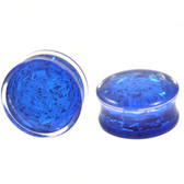 "Blue Confetti Filled Clear Acrylic Plugs (2g-1"")"