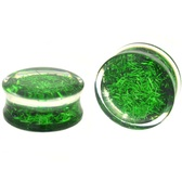 "Green Confetti Filled Clear Acrylic Plugs (2g-1"")"