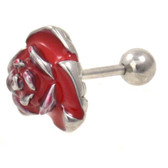 Red and Silver Rose Cartilage Tragus Bar 16g 1/4""