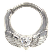 Clear Heart & Wings Septum Clicker Jewelry (16G/14G)