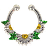 Daisy Flowers Fake Septum Ring Jewelry
