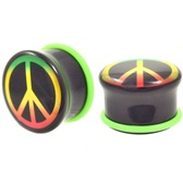 "Rasta Peace Sign Acrylic Single Flared Plugs (2g-1"")"