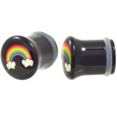 "Rainbow and Clouds Acrylic Single Flared Plugs (2g-1"")"