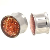 "Amber Glitter Dome Double Flared Steel Plugs (2g-5/8"")"