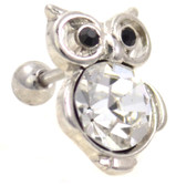 Bejeweled White Owl Cartilage Earring Stud 16g