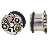 "Steampunk Gears Single Flared Plugs (2g-3/4"")"
