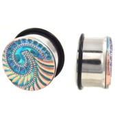 "Intricate Blue Swirl Face Single Flared Plugs (2g-1"")"