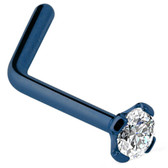 Clear CZ Blue Titanium L Shaped Nose Ring