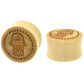 "Engraved Evil Eye Hamsa Hand Wood Plugs (00g-1"")"