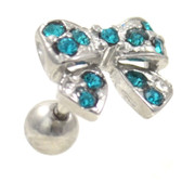 Teal Gems Bow Tie Cartilage Tragus Stud Earring 18g 1/4""