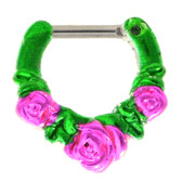 Green/Pink Triple Rose Septum Clicker Jewelry