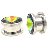 "Pointed Rainbow Gem Bling Steel Plugs (2g-5/8"")"