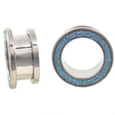 "Light Blue Glitter Rim Steel Screw Fit Tunnels (2g-1"")"