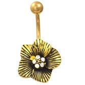 Striped Metallic Flower Gold Plated Belly Ring