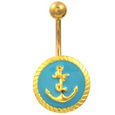 Blue & Gold Roped Anchor Emblem Belly Ring