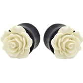 "White Rose Flower Top Black Acrylic Plugs (0g-1"")"