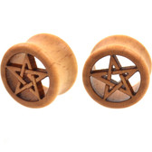 "Pentagram Star Organic Wood Tunnels Plugs (1/2-1"")"
