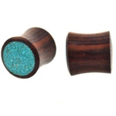 "Crushed Turquoise Face Sono Wood Plugs (2g-1"")"
