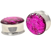 "Hot Pink Confetti Filled Steel Plugs (0g-1"")"