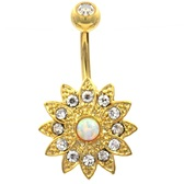 Gold Bedazzled Lotus Flower Clear Gems Belly Ring