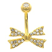 Snazzy Bow Tie Gold Plated Belly Ring
