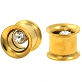 "Gold Plated Single CZ Gem Tunnels (0g-5/8"")"