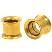 "Gold IP Steel Internally Threaded Tunnels (8g-1"")"
