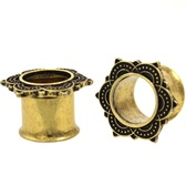 """Tribal Style Floral Rim IP Steel Tunnels (4g-5/8"""")"""