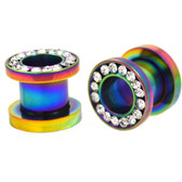 Rainbow Color Steel CZ Gem Rim Tunnels (8g-00g)