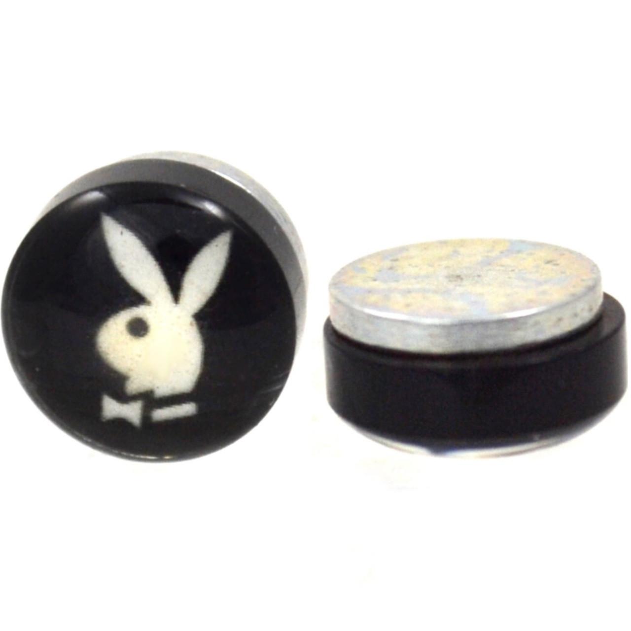 Bunny Logo Magnetic Fake Plug Earrings Bodydazz