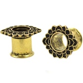"Lotus Flower Rim IP Steel Tunnels (4g-5/8"")"
