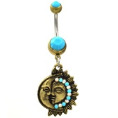Boho Sun & Moon Harmony Turquoise Gemmed Belly Ring