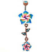 Blue Tropical Flower Vine Dangle Belly Ring