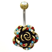 Gleaming AB/Red Gemmed Rose Belly Ring