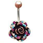 Gleaming AB/Fuchsia Gemmed Rose Belly Ring