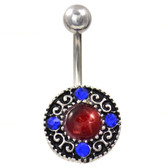 Cats Eye & Crystals Tribal Shield Belly Ring