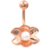 Shell & Pearl Rose Gold Plated Belly Ring