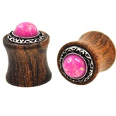 """Opalescent Pink Stone Wood Tribal Plugs (2g-5/8"""")"""
