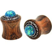 "Opalescent Green Stone Wood Tribal Plugs (2g-5/8"")"